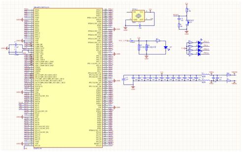 ▲ 图3.1 单片机系统原理图