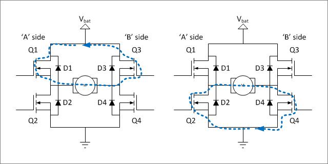 ▲ 电机两端电压被桥电路强制短接在一起