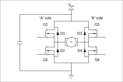 ▲ 电源带有滤波电容的H桥电路