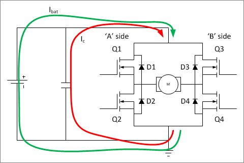 ▲ 桥电路并联电容与电源一起为桥电路供电