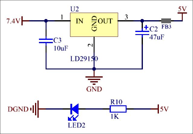 ▲ 图3.2.1 电压转换7.4V-->5V原理图