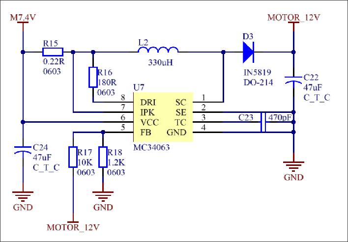 ▲ 图3.2.3 电压转换电路7.4V→12V