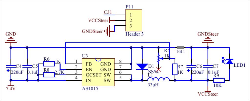 ▲ 图3.2.4 舵机供电稳压电路
