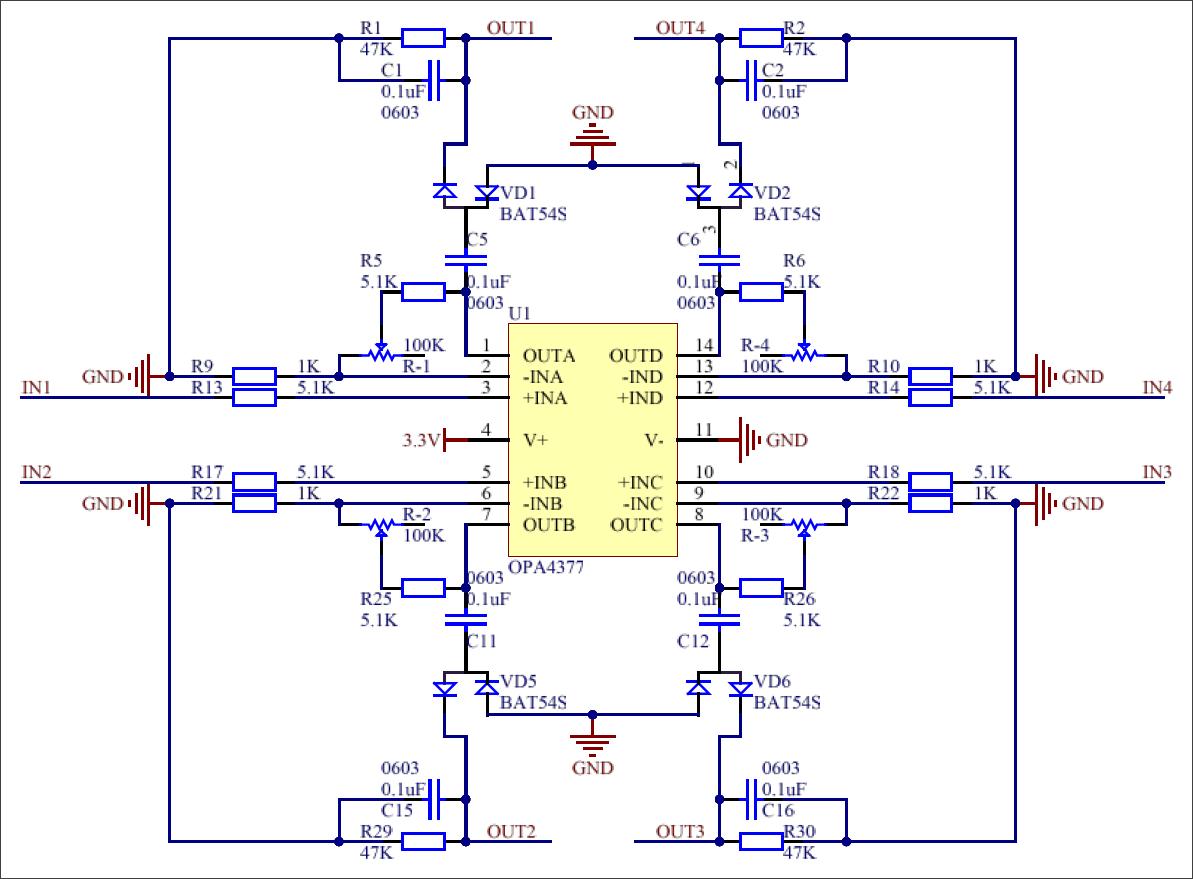 ▲ 图3.4 电磁信号接驳放大原理图