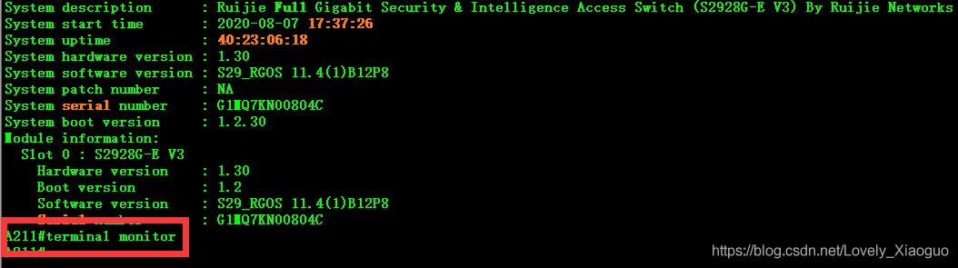terminal monitor功能输入一次是打开,输入第二次就是关闭