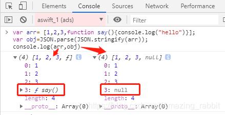 数组中的函数会被转换为null