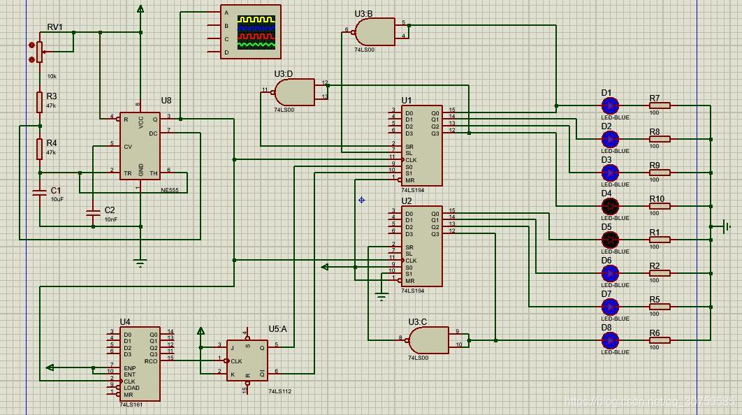 基础版本(74LS161)实现彩灯控制