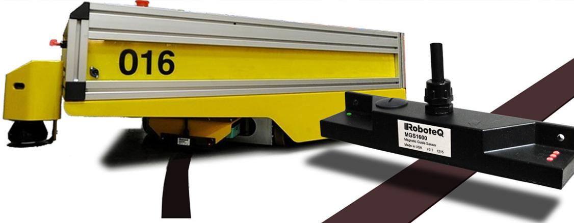 ▲ 使用磁导引带的AGV方案