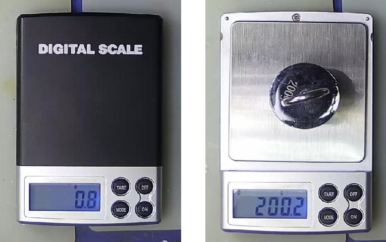 ▲ 数字电子秤测量砝码的重量