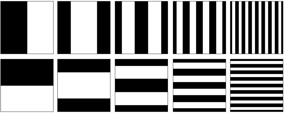 ▲ 水平和垂直方向上的黑白格雷码图案