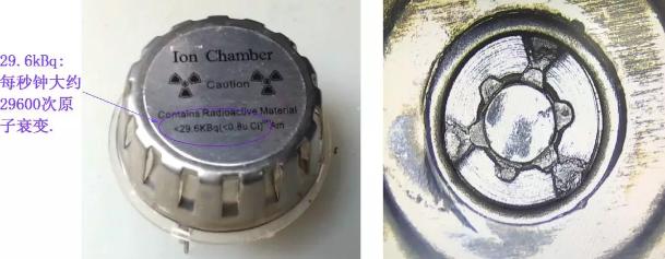 ▲ 电离烟雾传感器正面和内部放射性Am241金属纽扣