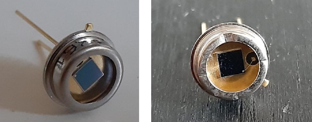 ▲ 左:带有玻璃串口的BPX61光电管右:已经移除窗口的BPX61