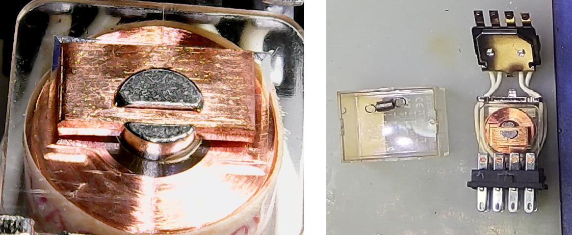 ▲ 继电器内部的交流电磁铁上面的短路铜片