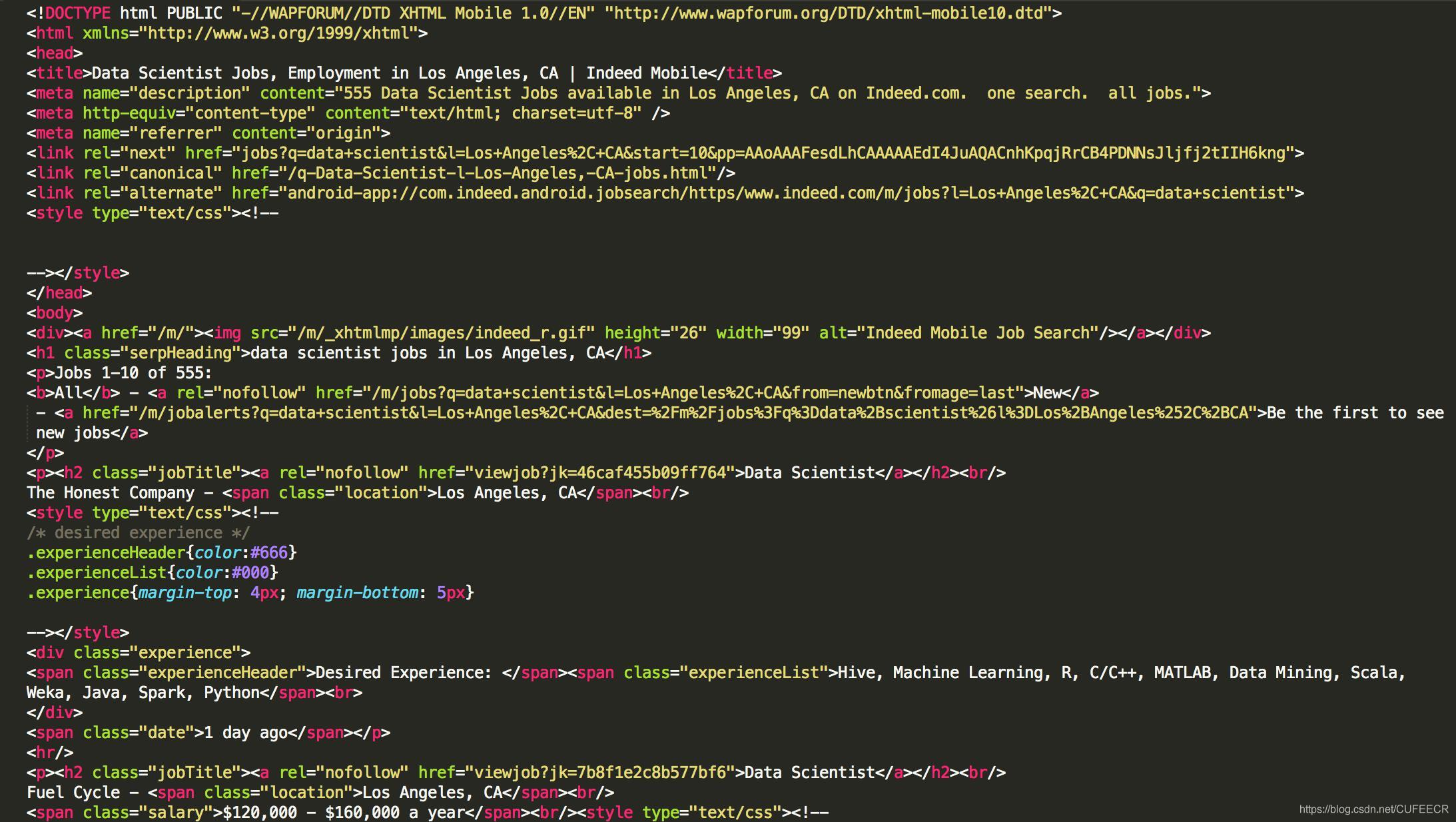 data web html