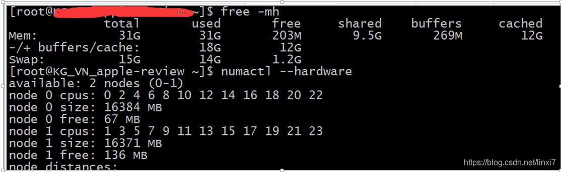 查看内存和node