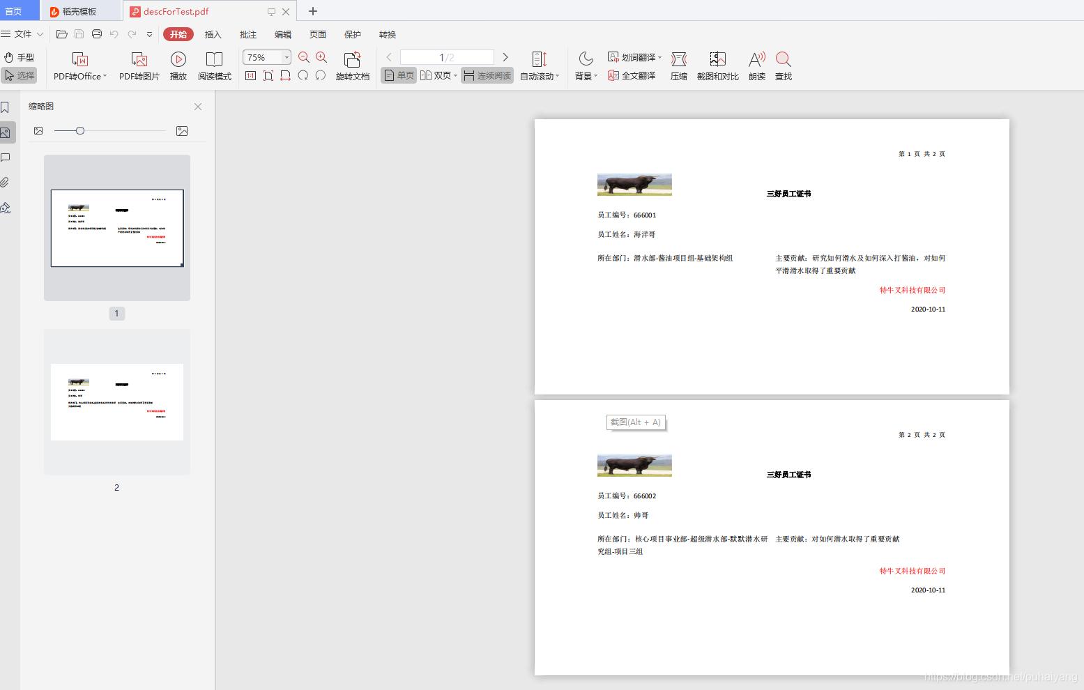 生成的pdf文件预览