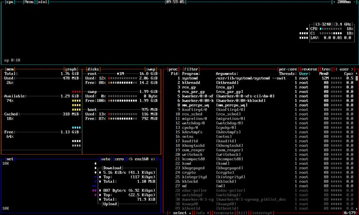 Linux中一个高效的资源监控器 – Bpytop插图(2)