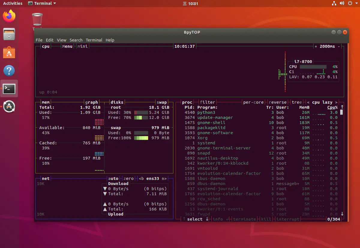 Ubuntu图形界面中的终端启动Bpytop