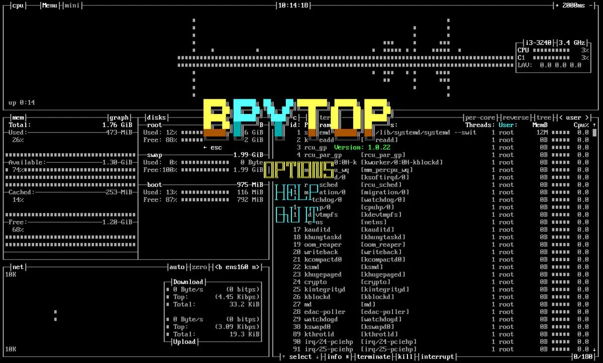 Linux中一个高效的资源监控器 – Bpytop插图(4)