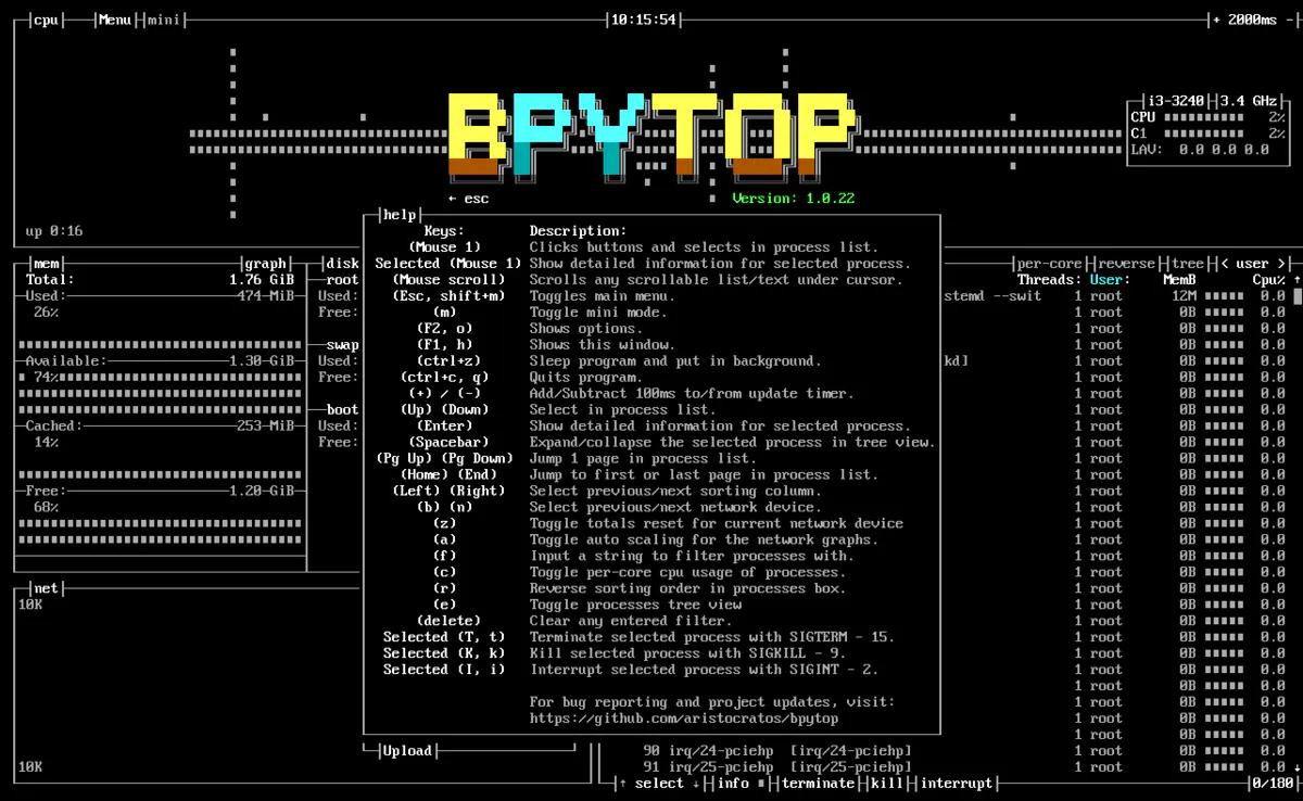 Linux中一个高效的资源监控器 – Bpytop插图(6)