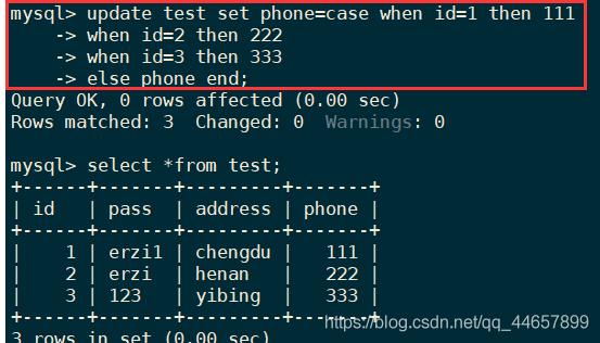 update test set phone=case when id=1 then 111 when id=2 then 222 when id=3 then 333 else phone end;