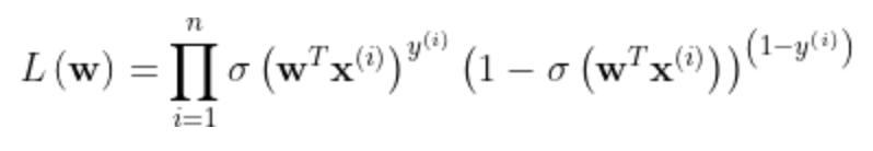 L\left ( \mathbf{w} \right )=\prod_{i=1}^{n}\sigma \left ( \mathbf{w}^T\mathbf{x}^{\left ( i \right )} \right )^{y^{\left ( i \right )}}\left ( 1-\sigma \left ( \mathbf{w}^T\mathbf{x}^{\left ( i \right )} \right ) \right )^{\left ( 1-y^{\left ( i \right )} \right )}