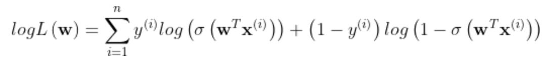 logL\left ( \mathbf{w} \right )=\sum_{i=1}^{n}y^{\left ( i \right )}log\left ( \sigma \left ( \mathbf{w}^T\mathbf{x}^{\left ( i \right )} \right ) \right )+\left ( 1-y^{\left ( i \right )} \right )log\left ( 1-\sigma \left ( \mathbf{w}^T\mathbf{x}^{\left ( i \right )} \right )\right )