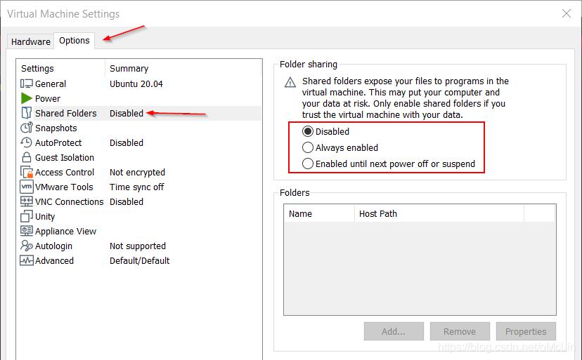 VMWare文件夹共享选项