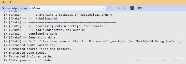 打开文件夹后cmake会有这些输出