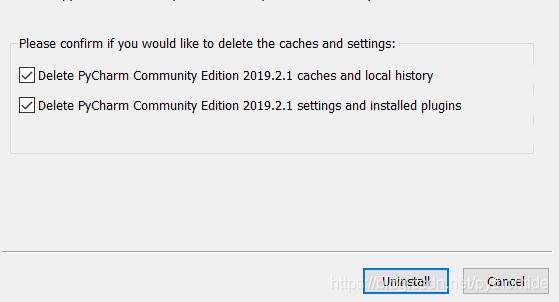 卸载过程中选择删除缓存配置和已安装插件等