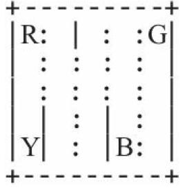 其中B、G、R、Y是4个上下车点