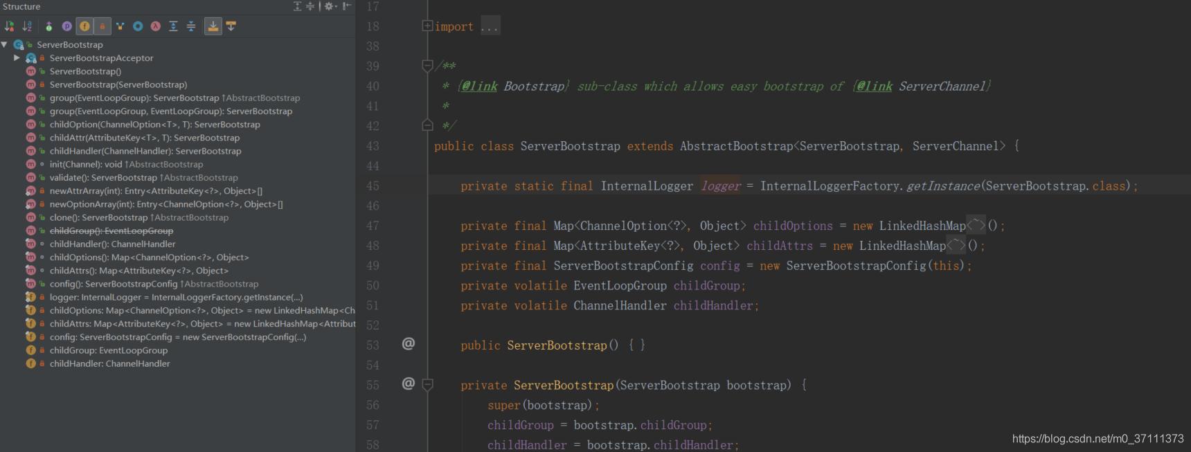 ServerBootstrap的类图