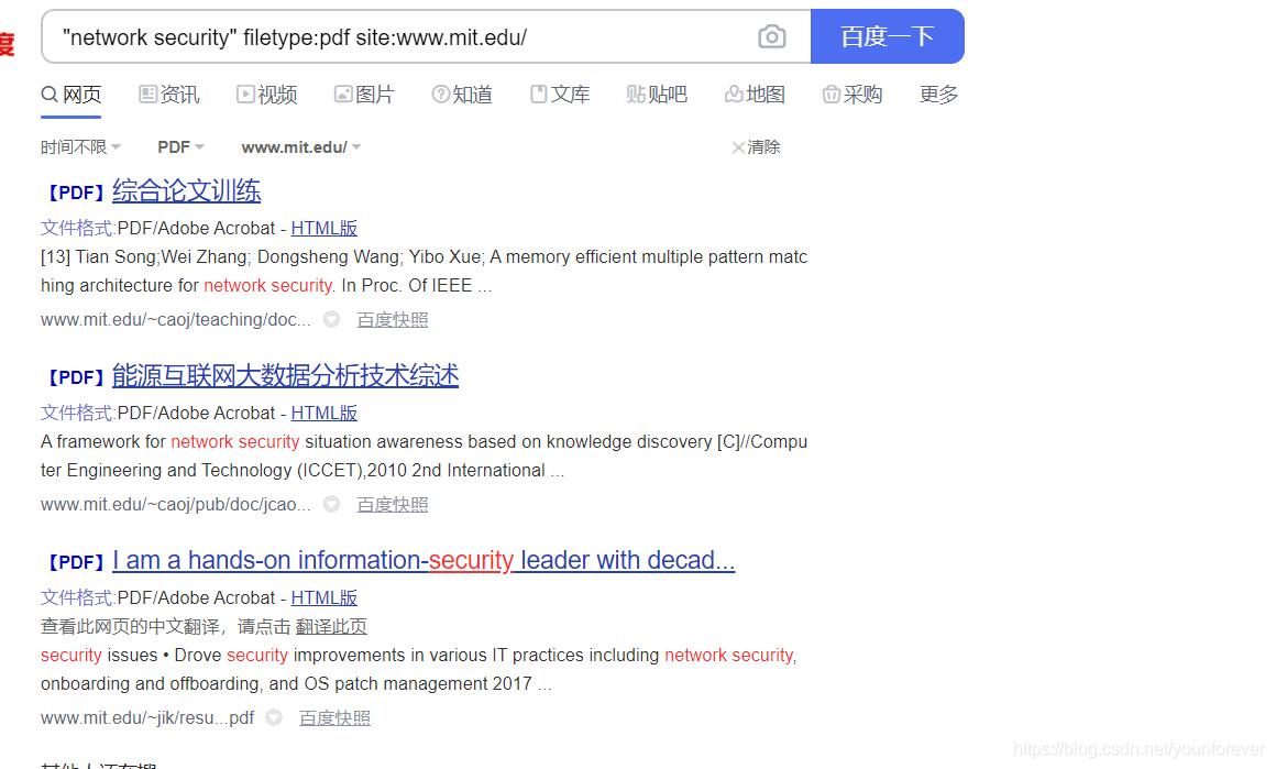 在上面的图片中,我们可以看到,site指定搜索某个网站,双引号指定搜索的内容,filetype则指定搜索的内容的格式。