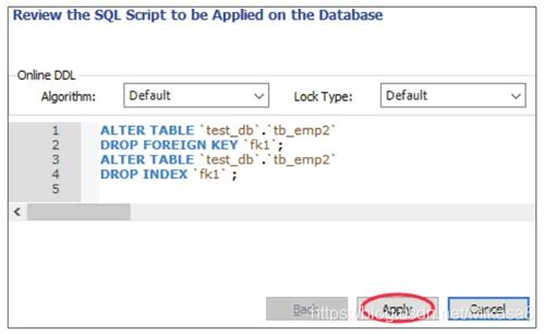 预览删除外键的SQL脚本