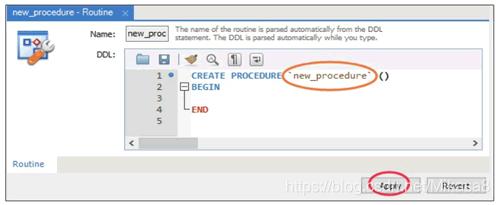 创建存储过程对话框