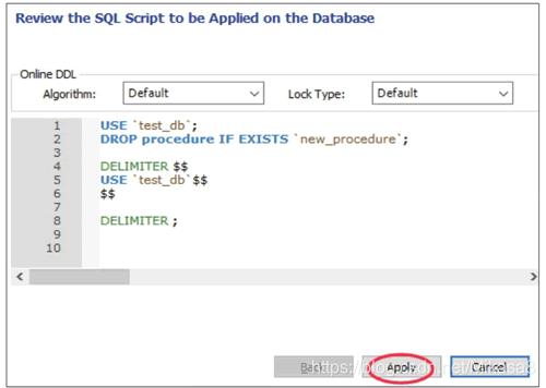 预览创建存储过程的SQL脚本