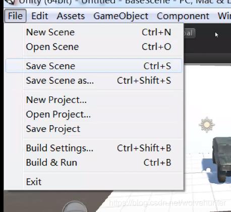 """左上角的file按钮里面的save scene按钮  或者""""ctrl+s"""""""
