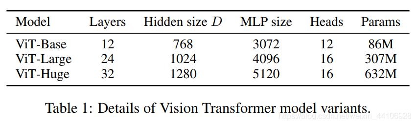 不同规模ViT的配置