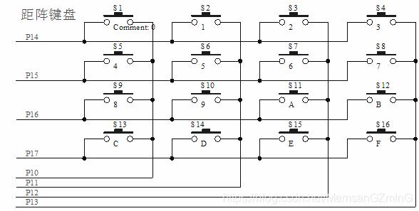 4x4矩阵键盘电路图