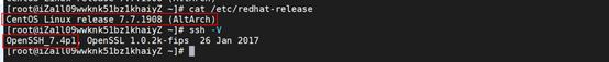 系统版本CentOS7.7、Openssh_7.4p1