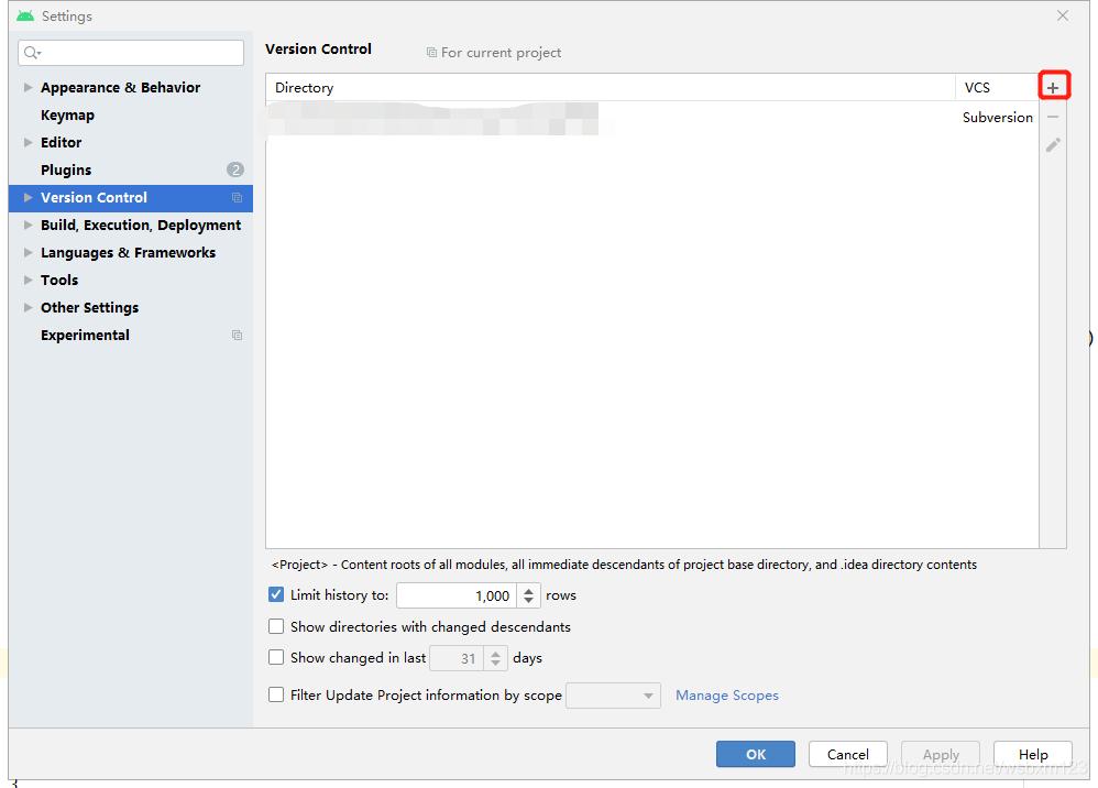 点击+号添加需要跟SVN关联的项目