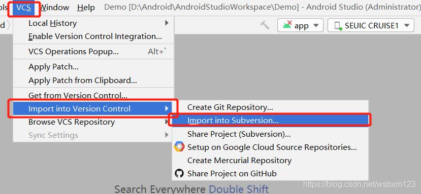 点击VCS选择Import into Version Control,选择Import into Subversion...