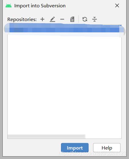 会弹出这个界面,点击+号增加SVN地址,根据SVN层级目录以自己创建的文件夹结尾(这里有点唠叨了),选中svn地址点击Import(如果补选中Import按钮是不可点击的)等待即可,速度还可以,不需要太长时间即可同步完成