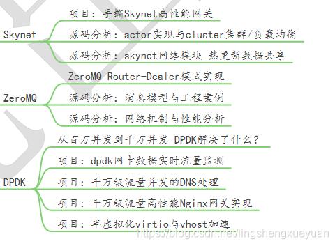 skynet高性能网关actor实现与cluster/负载均衡skynet网络与热更新 数据共享ZeroMQ Router-Dealter模式源码分析:消息模型与工程案例源码分析:网络机制dpdk PCI原理与 testpmd/l3fwd/skeletionkni数据流程dpdk实现dnsdpdk的高性能网关的实现半虚拟化 virtio/vhost的加速