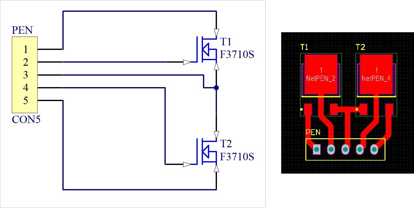 ▲ 实验电路图和PCB设计