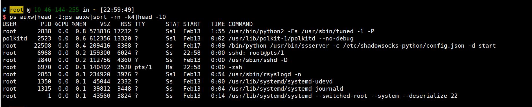 Linux终端查看最消耗CPU内存的进程Linux终端查看最消耗CPU内存的进程