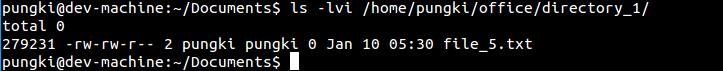 Inode number of copied file