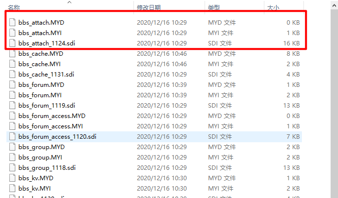 myisam存储引擎创建表生成的文件