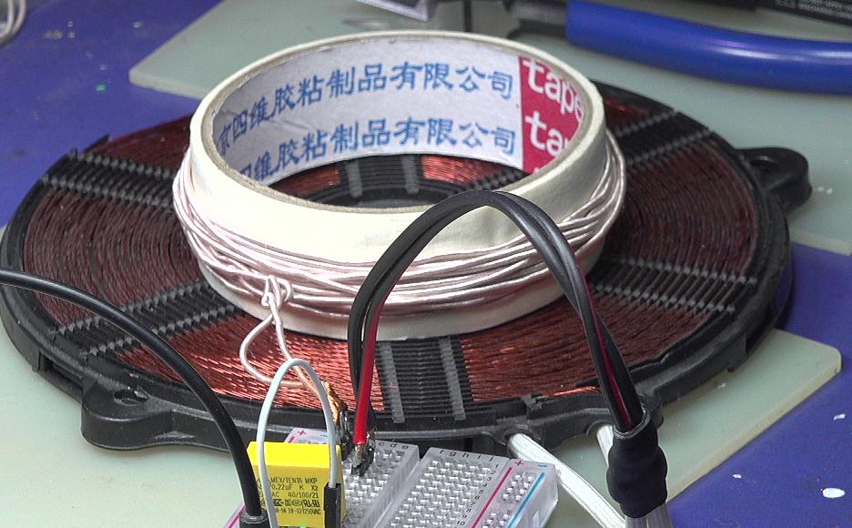 ▲ 电磁炉线圈与自绕制线圈