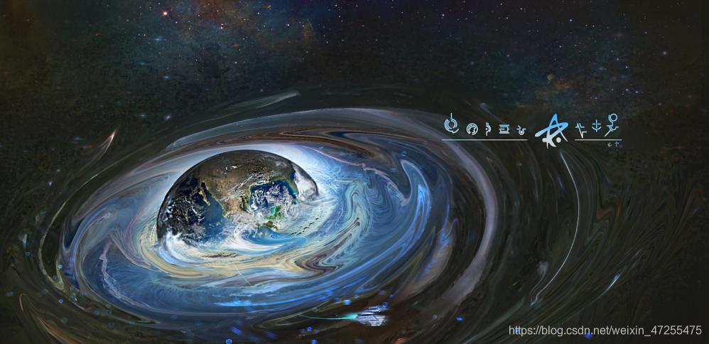正在二维化的地球 图片来源: 二向箔攻击效果 作者:塔语时鬼https://www.zcool.com.cn/work/ZMzQ3NTgxMTY=.html